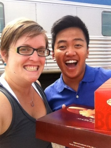Jake delivering donuts at Saskatoon train station :)